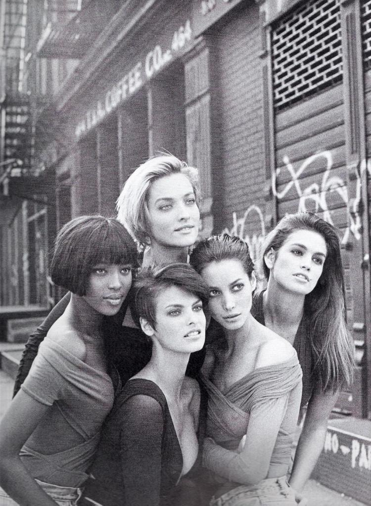 """The Supermodels"" Vogue Magazine UK 1990"